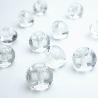 チェコのヴィンテージガラスボタン 無色透明の丸い形のボタン