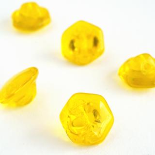 チェコの六角形ガラスボタン 黄色