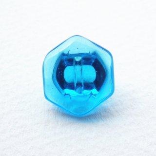 チェコのヴィンテージガラスボタン ブルーの透明の六角形ボタン