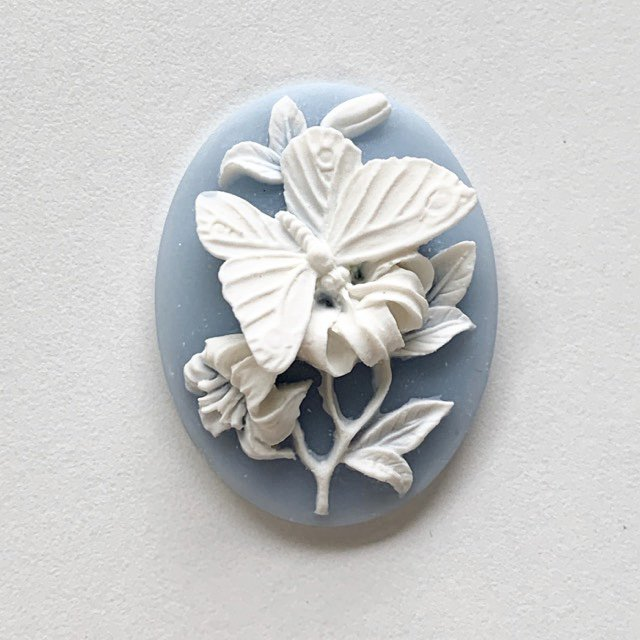 Acrylic Blue Butterfly Cameo 40x30mm