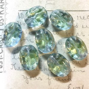 Czech Vintage Vaseline Glass Bead Green/Blue Carved Puff Oval 16×12mm