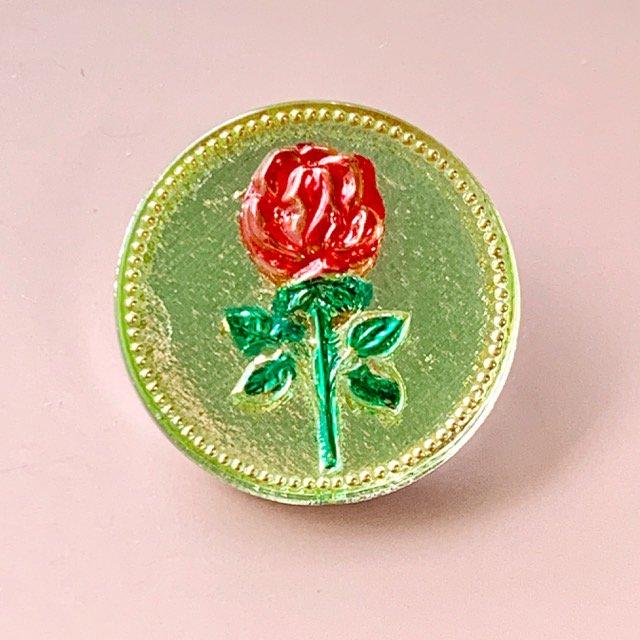 ウランガラスのボタン・Rose・32mm