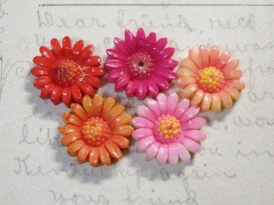 Japan Vintage Flower Cabochon Assort Mix【5個セット】