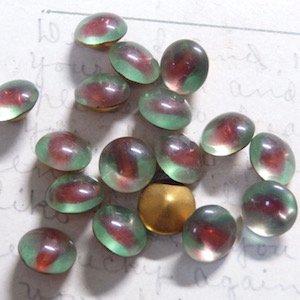 西ドイツ製Vintageグラスストーン・Red Green Cuba Bi-Color・Round・40ss