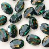 Glass Stone Pointed Back Oval Parrot Green/Orange 14/10mm