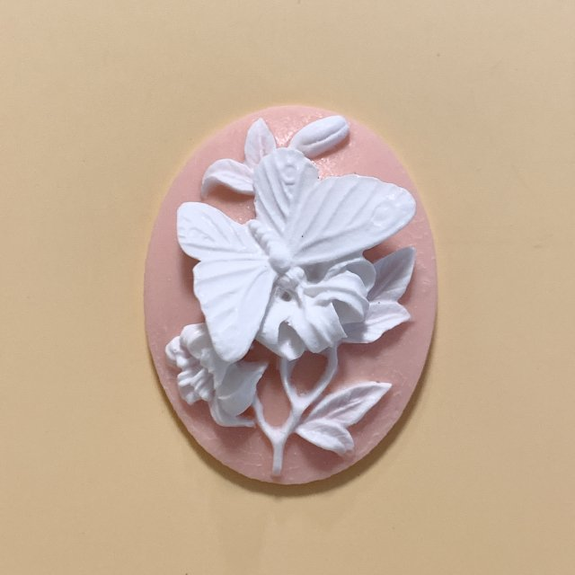Acrylic pink butterfly cameo 40x30mm