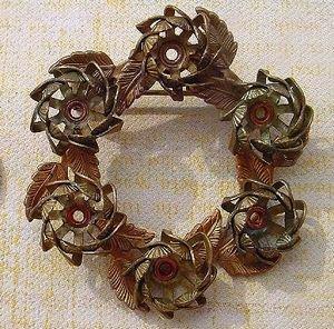 Vintageピンブローチセッティング Leaf Wreath