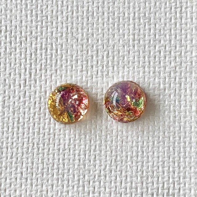 日本製Vintageファイアオパール風ガラスカボション ピンク系 ラウンド 7mm [2個セット]