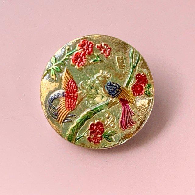 ウランガラスのボタン・鳥と花・27mm
