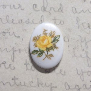 vintage glass yellow flower 18×13mm