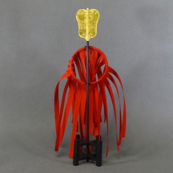 豊臣秀吉 総赤の吹貫に金軍配団扇の出し(金箔使用)