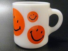 ★70'sヘーゼルアトラス社スマイリーフェイスマグカップ赤色スマイル