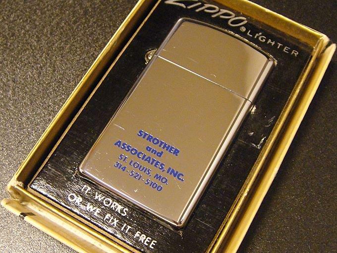 【ワケあり】★OUTLET!?!70'sジッポーzippo企業広告ノベルティスリムライター箱付未使用1976年製