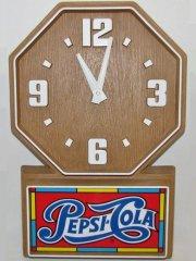 【送料無料】★80'sアメリカ・ペプシコーラ広告ウッド調壁掛け時計