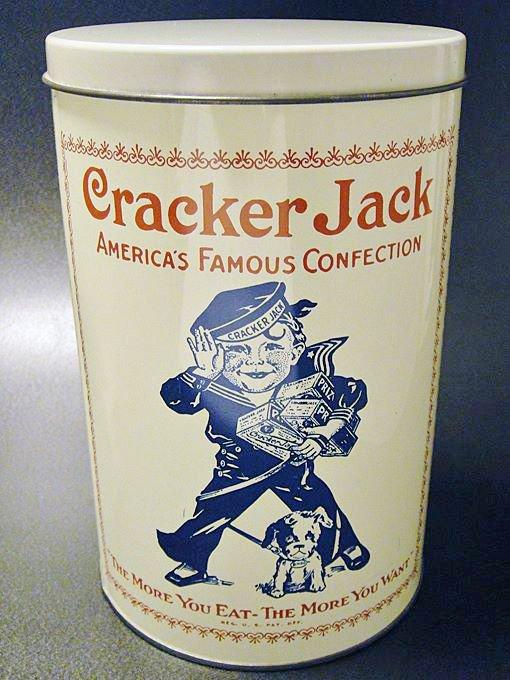★80'sアメリカキャラメルポップコーン菓子クラッカー・ジャック1900年復刻缶