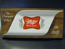 ★70'sアメリカビール会社ミラー・ハイライフ木目調立体広告看板