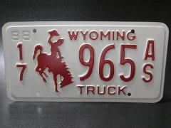 ★80'sアメリカ農場トラック・ワイオミング州965ライセンスナンバープレート1988年