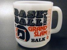 ★70'sグラスベイク製ベースボール野球プリントマグカップ