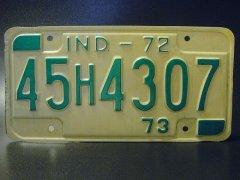 ★70'sアメ車インディアナ州ライセンスナンバープレート1972年