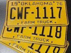 ★70'sアメリカ農場トラック・オクラホマ州ライセンスナンバープレート各種1976年