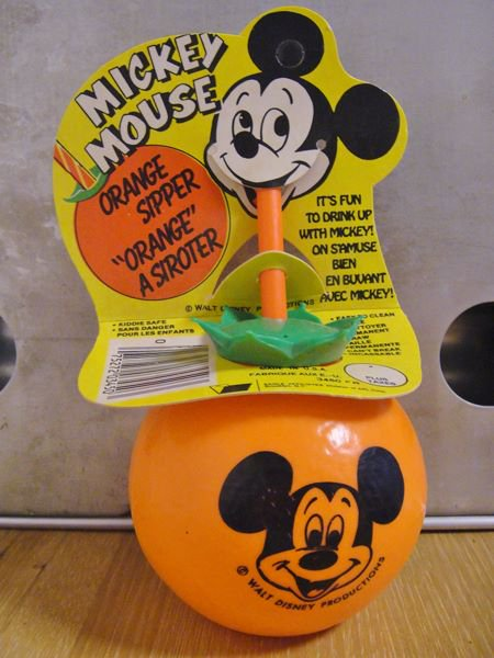 ★70'sミッキーマウス・オレンジドリンクボトル・パッケージ付