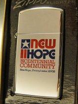 ★70'sジッポーzippoペンシルバニア州ニューホープ 記念スリムライター未使用箱付1976年製