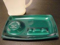 ★70'sアメリカンベーカリー・バレープライド広告ノベルティ金属製灰皿メタリックグリーン