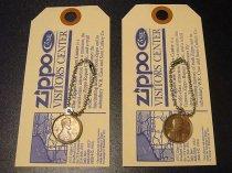 ★70'sジッポーzippoペニーコイン「幸運のコイン」キーリング&タグ(各種1975・1978年)