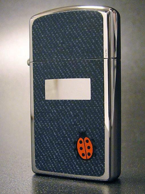【送料無料】【ワケあり】★OUTLET!?70'sジッポーzippoてんとう虫デニムスリムライター1976年製未使用