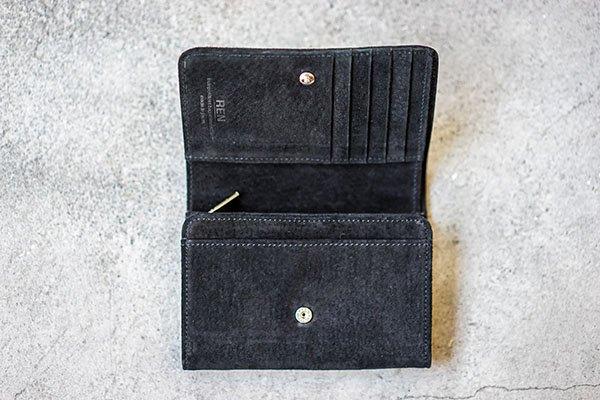 REN (レン) スモーク・L型ウォレット black ポケットいっぱい収納力