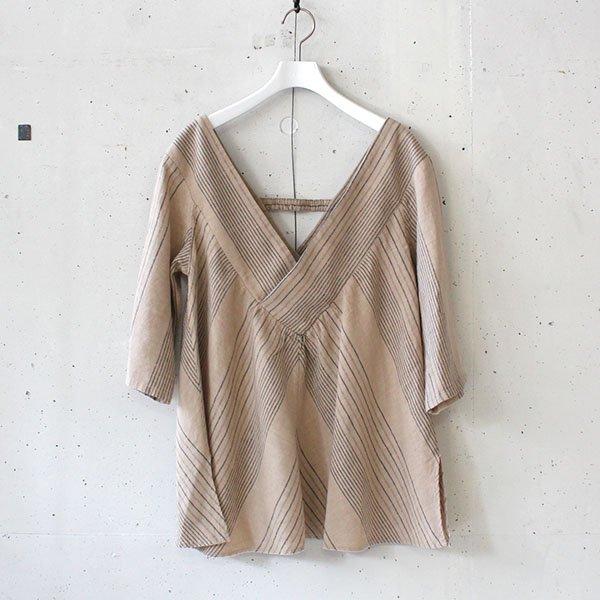 R JUBILEE(アール ジュビリー) Stripe V-neck Pullover Beige