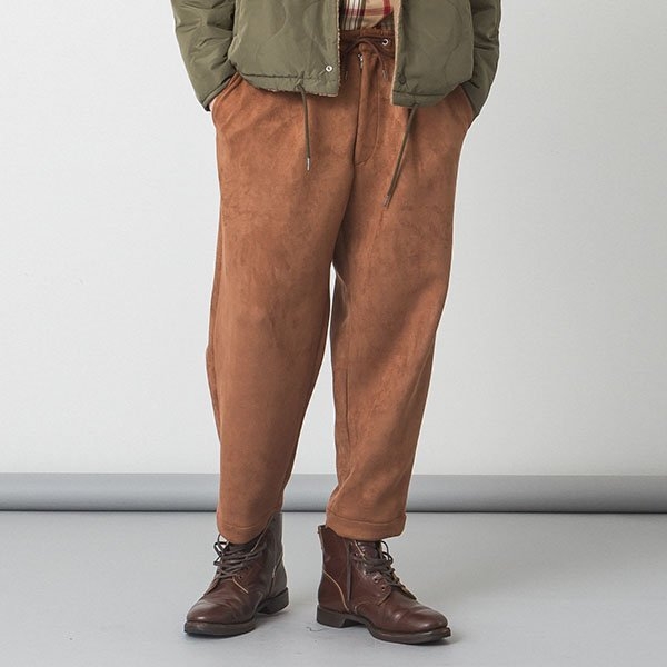 SLICK(スリック)Stretch Faux Suede Wide Tapered Pants - CAMEL