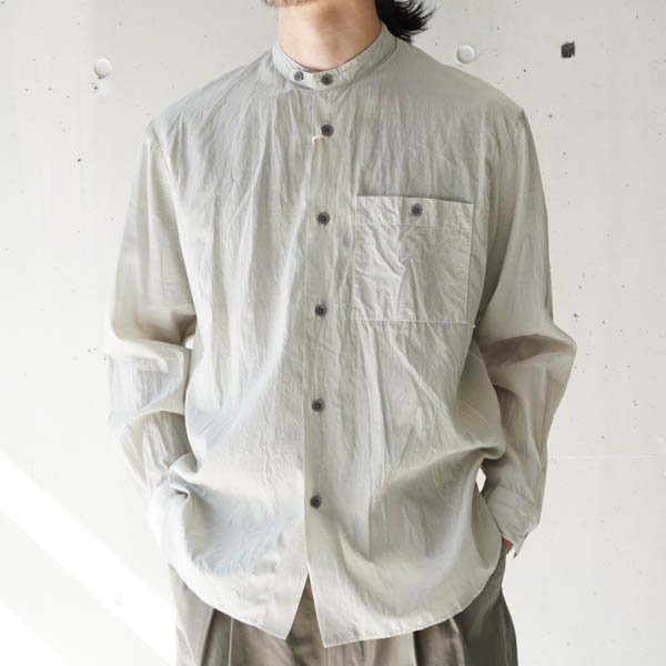 STILL BY HAND (スティルバイハンド) キュプラ/綿 バンドカラーシャツ