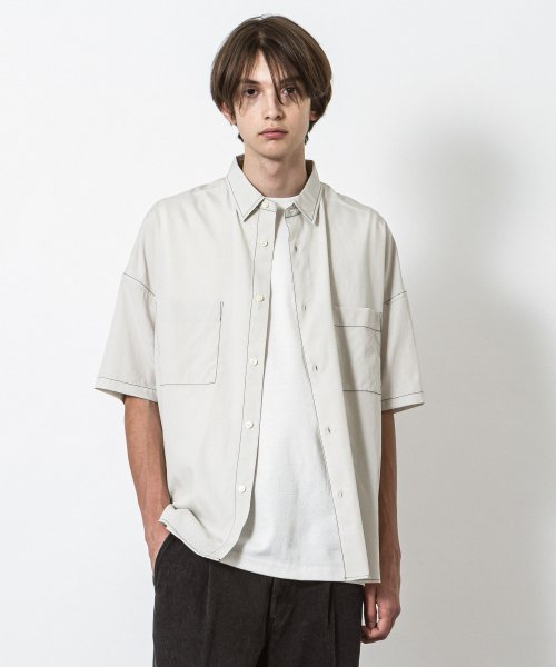 SLICK(スリック)Lyocell Cotton Dropped Shoulders Stitch Work Shirt