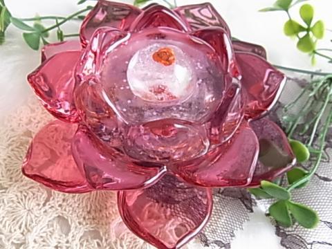 オルゴナイト ピンクの蓮の花 ガラスタイプ(ローズクォーツ)