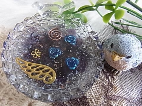 オルゴナイト 小鳥 ガラスタイプ(アメジスト)