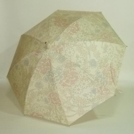 クリーム地に花々を織り出した塩沢紬  シルバーストレッチ式日傘 共布傘袋付