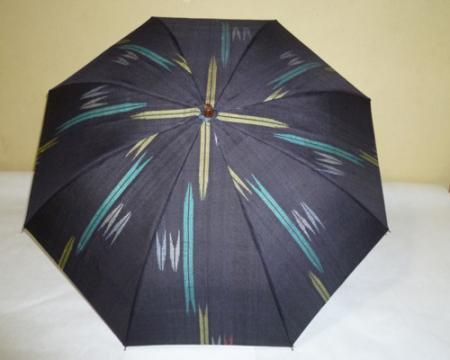 黒地玉紬 シルバーストレッチ式日傘 共布傘袋付