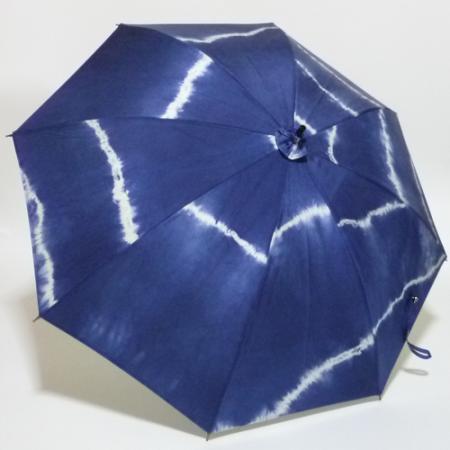 藍染しぼりの大島紬  シルバースチールストレッチ式日傘 共布傘袋付