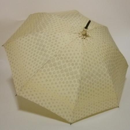 黄色地に亀甲風蚊絣 真綿結城紬の優美な長傘  共布傘袋付