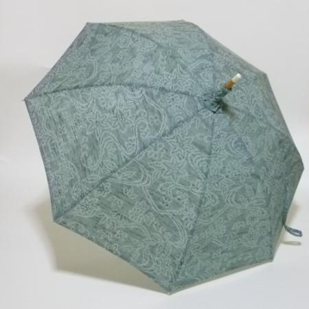 モスグリーンに白抜きの小紋柄 小千谷ちぢみの優美な長傘  共布傘袋付