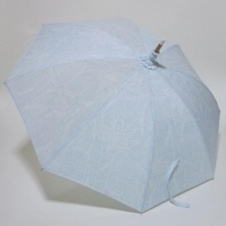 空色地に山百合の花 小千谷ちぢみの優美な長傘  共布傘袋付