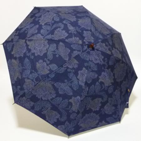 紺地に唐花紋 染め紬(古布)  シルバースチール製ストレッチ式日傘 共布傘袋付