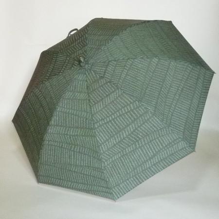 灰暗緑色地の棚田様横段柄・信濃結城の日傘 シルバーストレッチ式日傘 共布傘袋付