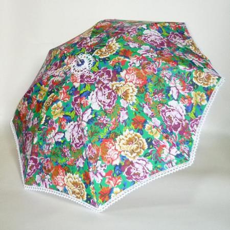 イタリアリネン グリーン地に多色プリントの花柄 シルバースチールストレッチ式日傘