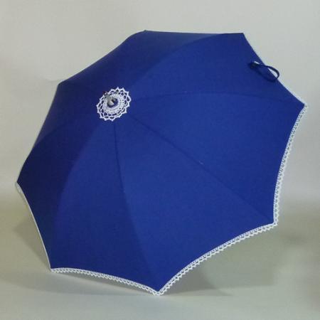 スイス製コットンピケ ロイヤルブルーのシルバースチールストレッチ式日傘