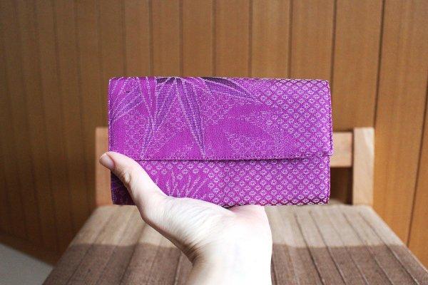 ハニカム カード入れ(赤紫・竹柄)
