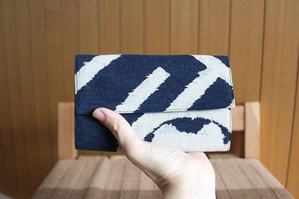 ハニカム カード入れ(藍に白・モダン柄)