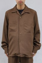 South2 West8 / One-up Shirt - Poly Crepe Cloth brown