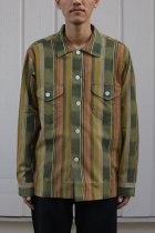 South2 West8 / Smokey Shirt - Cotton Cloth / Ikat Pattern - GRN/BGE/BRD